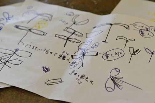竹とんぼの原理を説明したあとで子供たちが構想を練っています。テーマは「飛ぶ形」大きくて軽くていかにも飛ぶような形はどんな形だろう?