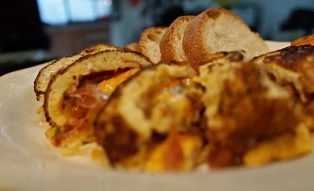 Omelete enrolada de queijo e Parma 1