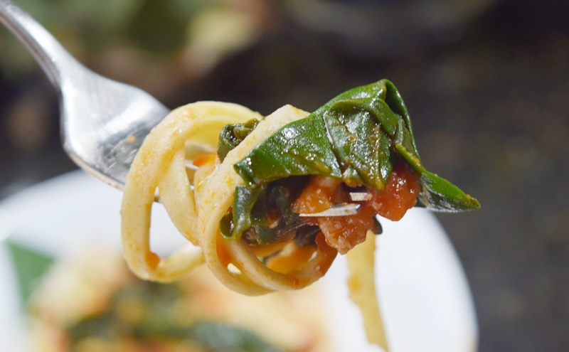Macarrão com ragu de tomate e espinafre