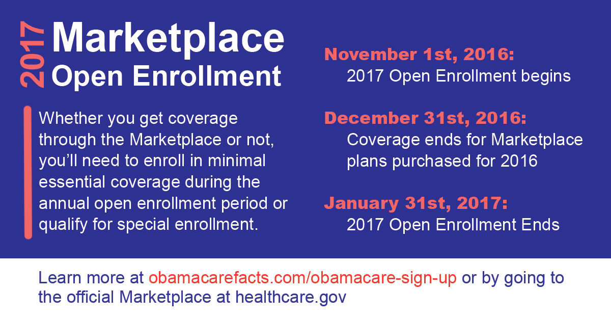 Affordable Care Act open enrollment period for 2017 begins November 1st, 2016 and ends January 31st 2017.