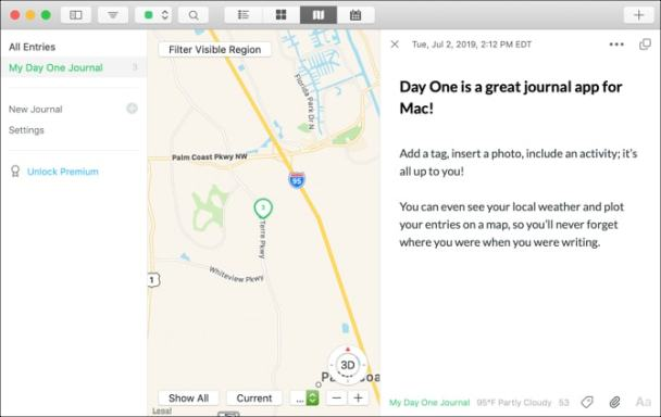 Day One journal entry and map on Mac