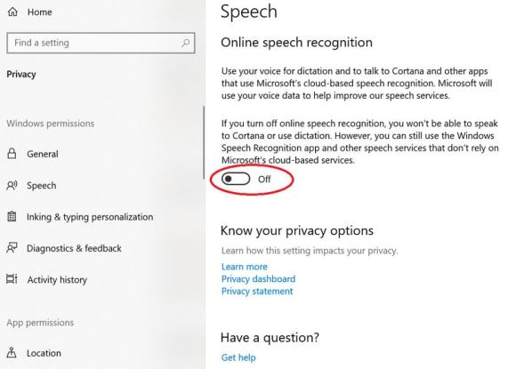 Toggle Online speech recognition off