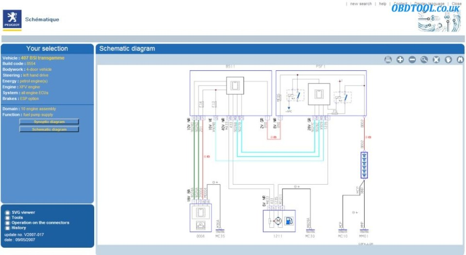 Read Peugeot wiring diagrams with Peugeot Service Box