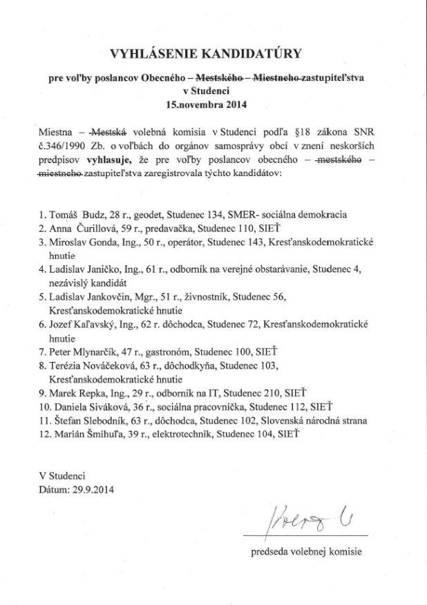 Vyhlásenie kandidatúry na poslanca