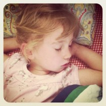 Last morning of being THREE! I had to wake her up for school, anyway.