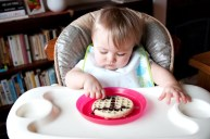 Breakfast of champions: waffles with chocolate sauce