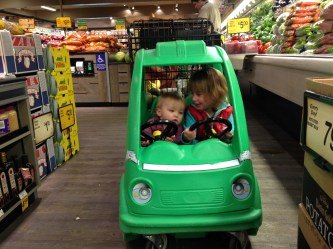 These two LOVE the green car. I never thought I'd do this thing at the grocery store.....but it truly keeps them occupied the whole time.