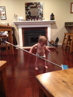 Claire loves to help clean. Woohoo!
