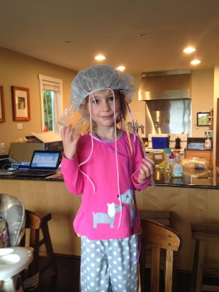 She made a Jellyfish Hat at camp.