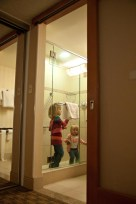 We stayed at a hotel near the airport for a night before flying to StL. The girls' favorite part?! The shower.