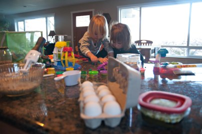 While Mama bakes, the girls get a rare treat....play dough.....