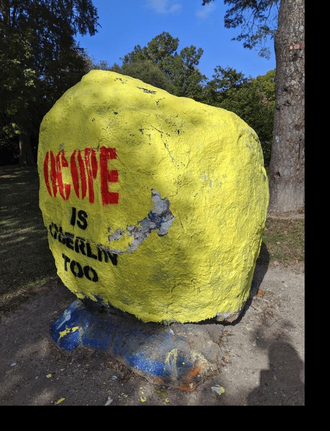 Freedom of speech rock, Oberlin College.
