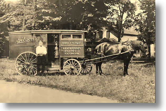 Gibson's Bakery (Oberlin) Horse Drawn Delivery Wagon c. 1905.