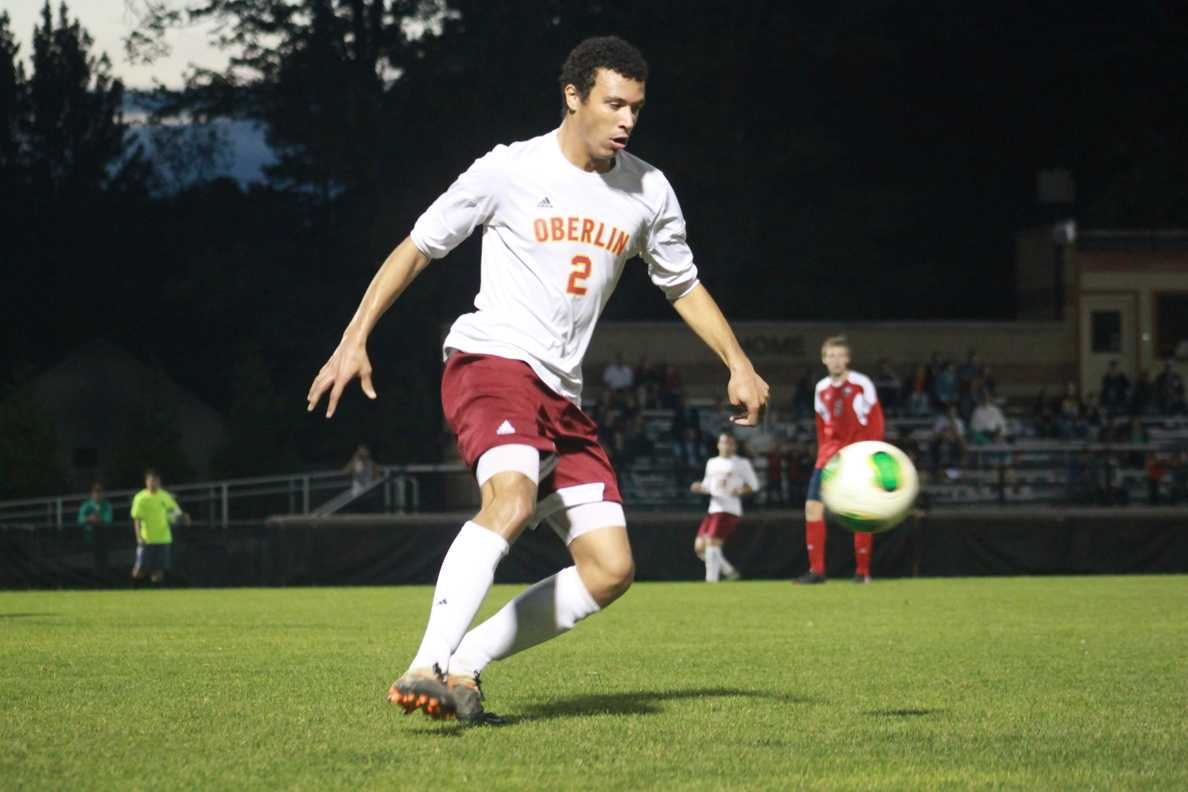 Yeomen junior defender Josh Wilkerson dribbles the ball against the Ohio Wesleyan Battling Bishops. The team tied 0–0 after a drawn out match.