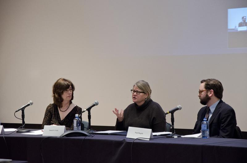 Panelists+Joyce+Babyak%2C+Sarah+W.+Peck+and+Paul+Bugala+discuss+and+debate+the+pros+and+cons+of+the+College%E2%80%99s+possible+financial+divestment+from+Israel.+The+Divestment+Symposium%2C+which+was+held+on+Sunday+morning+in+the+Dye+Lecture+Hall%2C+featured+two+sets+of+panelists+in+two+90-minute+sections.+
