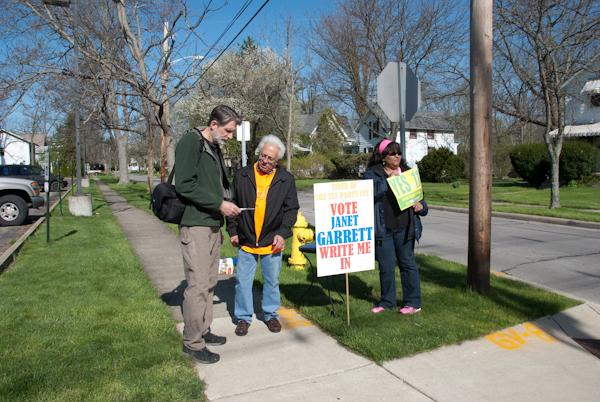 Voters converge outside of Philips gym to campaign for Janet Garret, a write-in candidate from Oberlin who ran for U.S. Congress in the Ohio primary election on Tuesday. Some other ballot features included Issue 22, Issue 11 and the Democratic and Republican primaries.