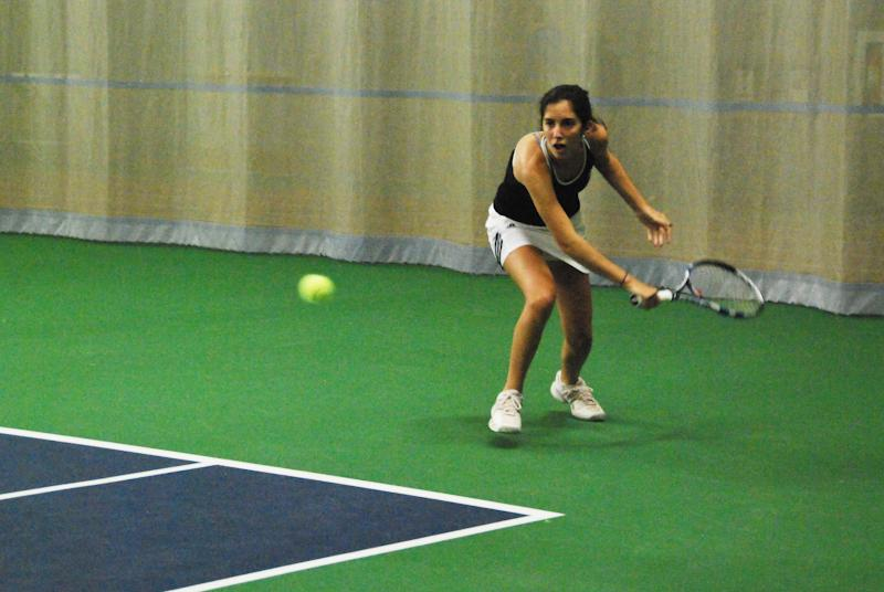 First-year+Mayada+Audeh+returns+a+shot+in+her+match+against+the+visiting+Ashland+University+Eagles+on+Wednesday.+Audeh+won+both+her+matches+in+the+No.+1+doubles+and+No.+2+singles+slots+to+bring+her+total+career+wins+to+six.