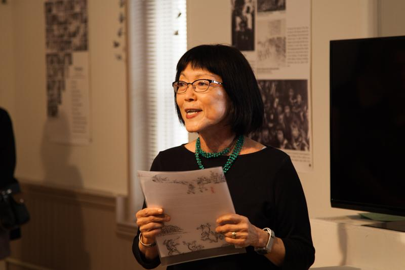 Creative Writing Professor Sylvia Watanabe speaks at the opening ceremony of Sadako: In the Spirit of Peace at the Firelands Association for the Visual Arts. Sylvia joined Green Legacy Hiroshima initative founder Tomoko Watanabe and others to help kick off the exhibit, which honors victims of the 1945 atomic bombing of Hiroshima.