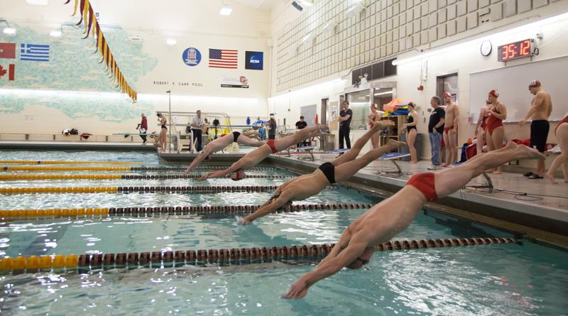 Two+Yeomen+catapult+off+the+starting+blocks+in+Oberlin%27s+dual+meet+against+the+Wittenberg+University+Tigers+Saturday%2C+Nov.+14.+The+swimming+and+diving+team+anticipates+competitive+races+across+the+board+at+the+Fredonia+Invitational+this+weekend.