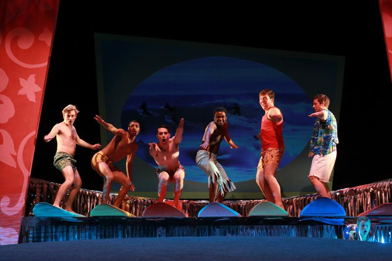 College first-year Evan Board (left) and College seniors Preston Crowder, Axandre Oge, Colin Anderson and Tae Braun toe the line between '60s beach party horror and humorous satire aimed at heteronormativity in Psycho Beach Party. The play, written by Charles Busch and directed by Associate Professor of Theater Matthew Wright, opened last night and will continue tonight, Saturday and Sunday in Hall Auditorium.