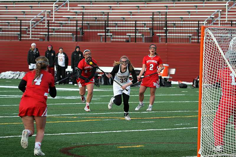 enior+midfielder+Grace+Barlow+charges+toward+goal+in+the+Yeowomen%E2%80%99s+game+against+the+Wittenberg+University+Tigers+April+13.+Barlow+led+her+squad+with+four+goals+in+the+contest%2C+but+the+Yeowomen+were+defeated+by+a+score+of+12%E2%80%9310.+