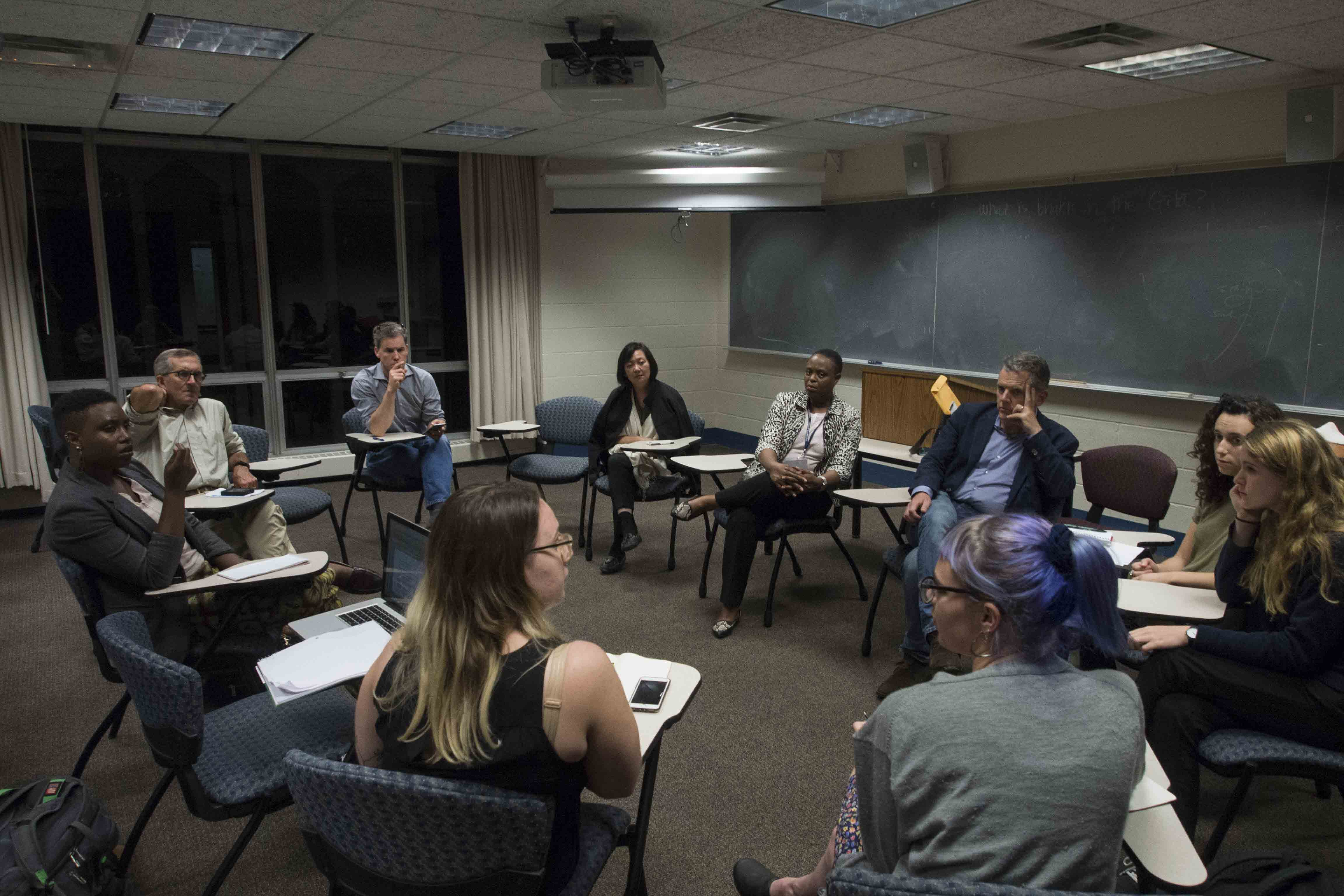 Trustees listen to student concerns about Title IX at the Trustee Forum on Thursday night in King. Student activists also raised the issue of adding student representatives to the board.