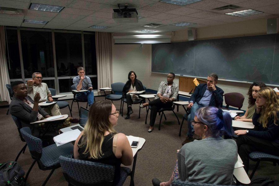 Trustees+listen+to+student+concerns+about+Title+IX+at+the+Trustee+Forum+on+Thursday+night+in+King.+Student+activists+also+raised+the+issue+of+adding+student+representatives+to+the+board.