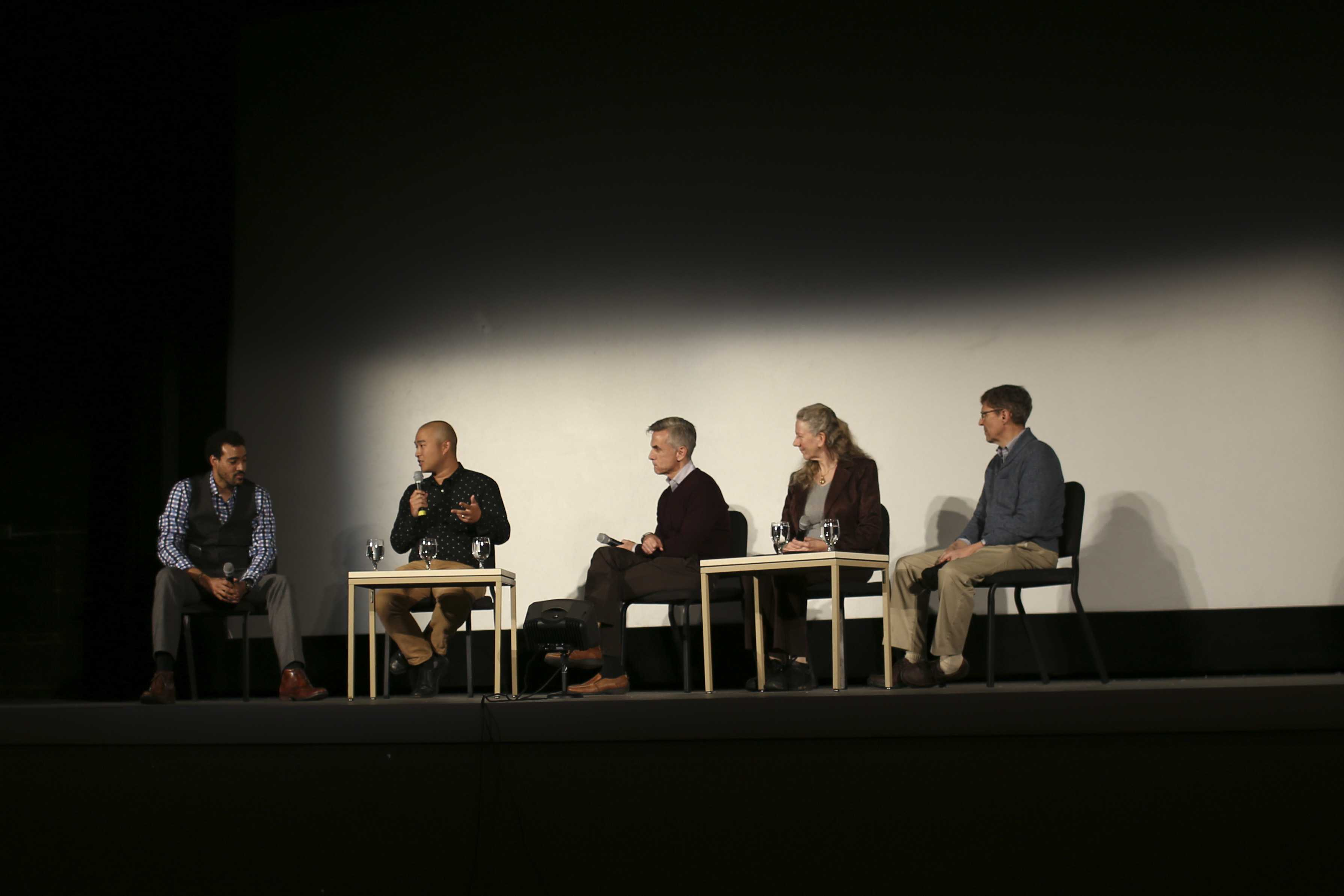 Director John Beder leads a panel of Conservatory faculty at the Apollo Theatre Wednesday night after screening his film Composed. Discussion revolved around the film's exploration of performance anxiety in professional musicians, hoping to shed light on a little-discussed area of the music world.