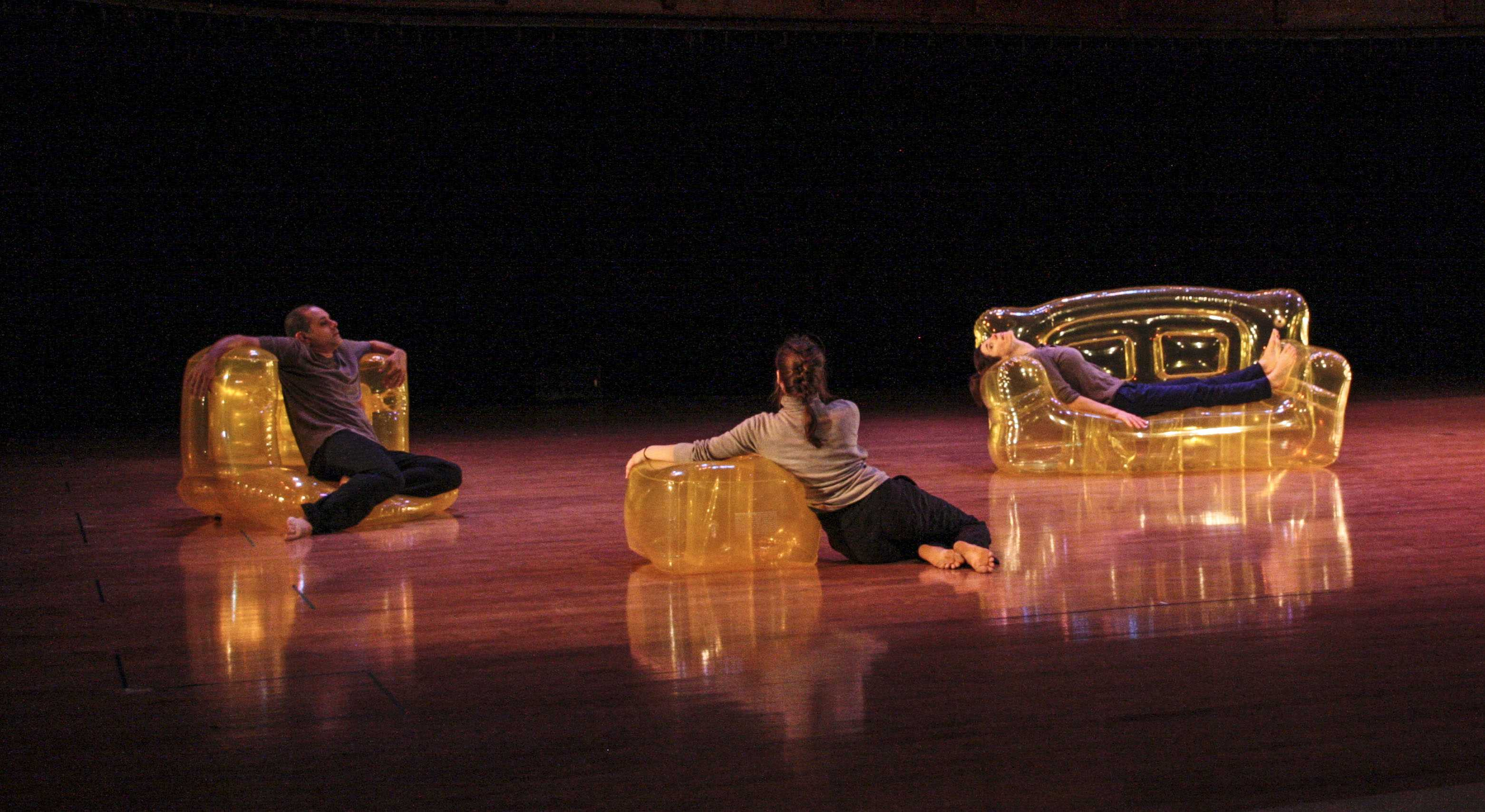 Lionel Popkin, OC '92, and Carolyn Hall, OC '91, with Samantha Mohr, perform Popkin's Inflatable Trio, a collaborative dance set to music by Associate Professor of Computer Music and Digital Arts Tom Lopez, OC '89.