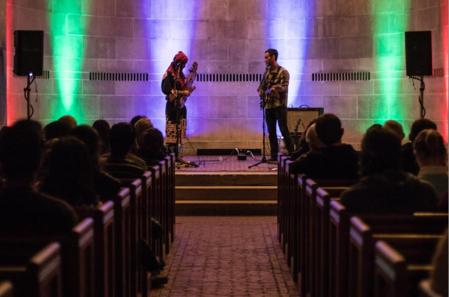 Ainu+musician+Oki+Kano+performs+on+tonkori+to+a+packed+Fairchild+Chapel.+Kano%2C+along+with+ethnomusicologist+Nate+Renner%2C+came+to%0AOberlin+this+week+for+performances+and+lectures+about+indigenous+music.