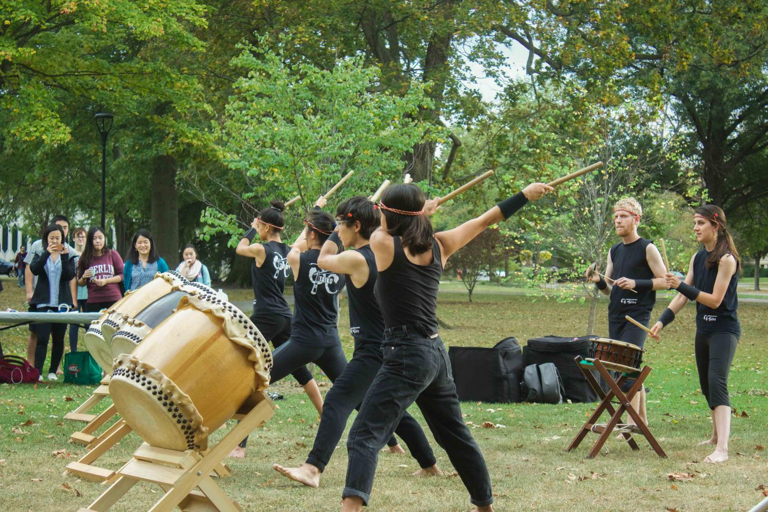 Members of OC Taiko perform during Wednesday's tree planing ceremony in Tappan Square. The ceremony honored saplings grown from seeds that had survived the dropping of the atomic bomb at Hiroshima.