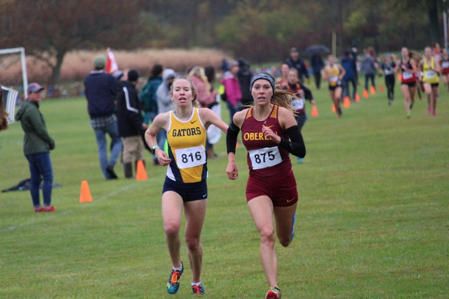 Sophomore+Shannon+Wargo+races+past+Allegheny+competition+at+last+Saturday%E2%80%99s+NCAC+championship+meet+on+Oberlin%E2%80%99s+North+Fields.+Wargo+finished+in+10th+place%2C+with+the+fourth-best+time+for+the+Yeowomen.