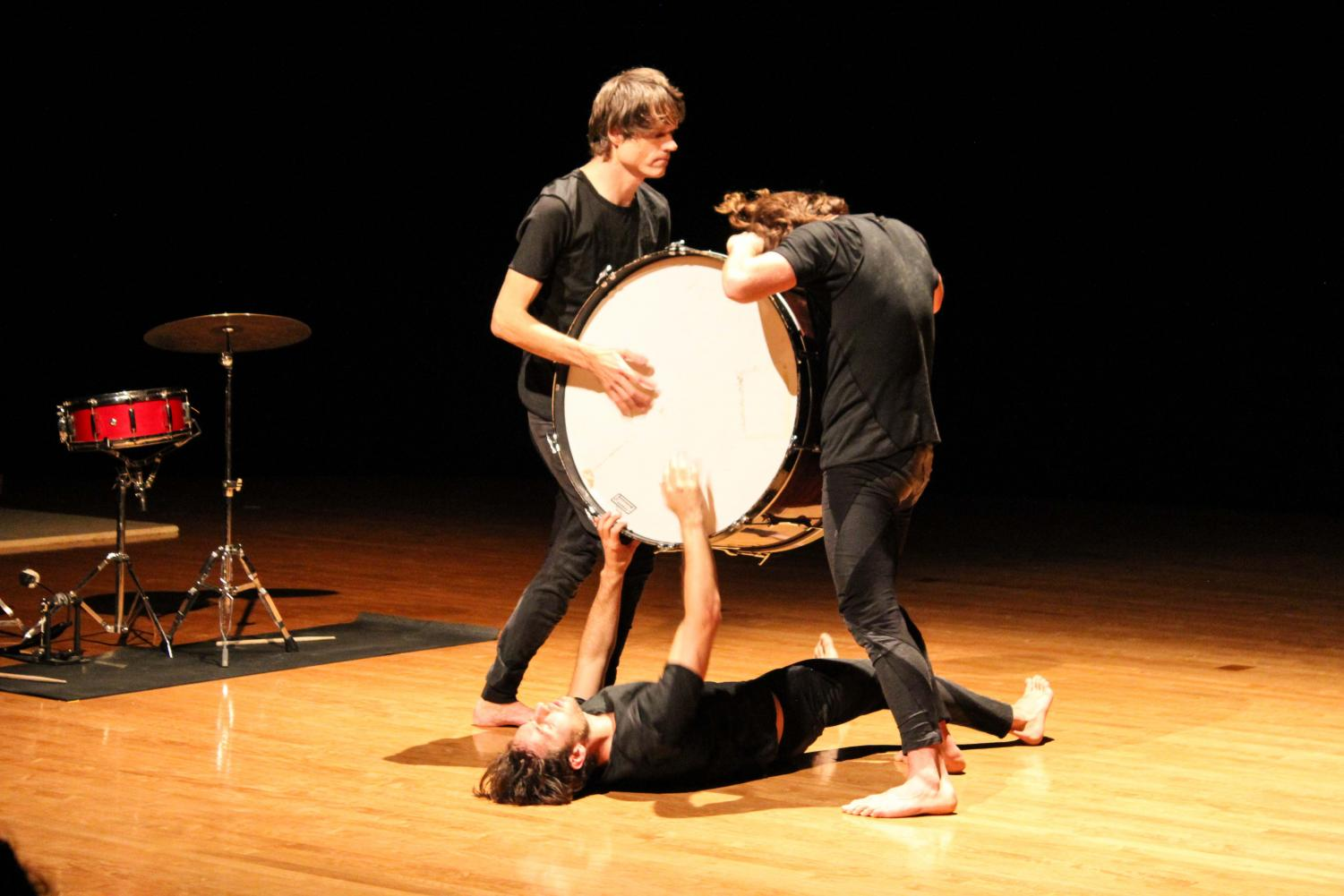 """The BOOMERANG Dance and Performance Project, featuring dancers Matty Davis and Adrian Galvin, performed the choreography of Kora Radella with finesse Sunday. Greg Saunier, OC '91 and one of the founders of internationally revered band Deerhoof, provided a percussion accompaniment to the dance. Drumbeat met heartbeat in Warner Main Space, where the performers showcased cultural critic Lewis Hyde's physical method of """"active forgetting."""""""