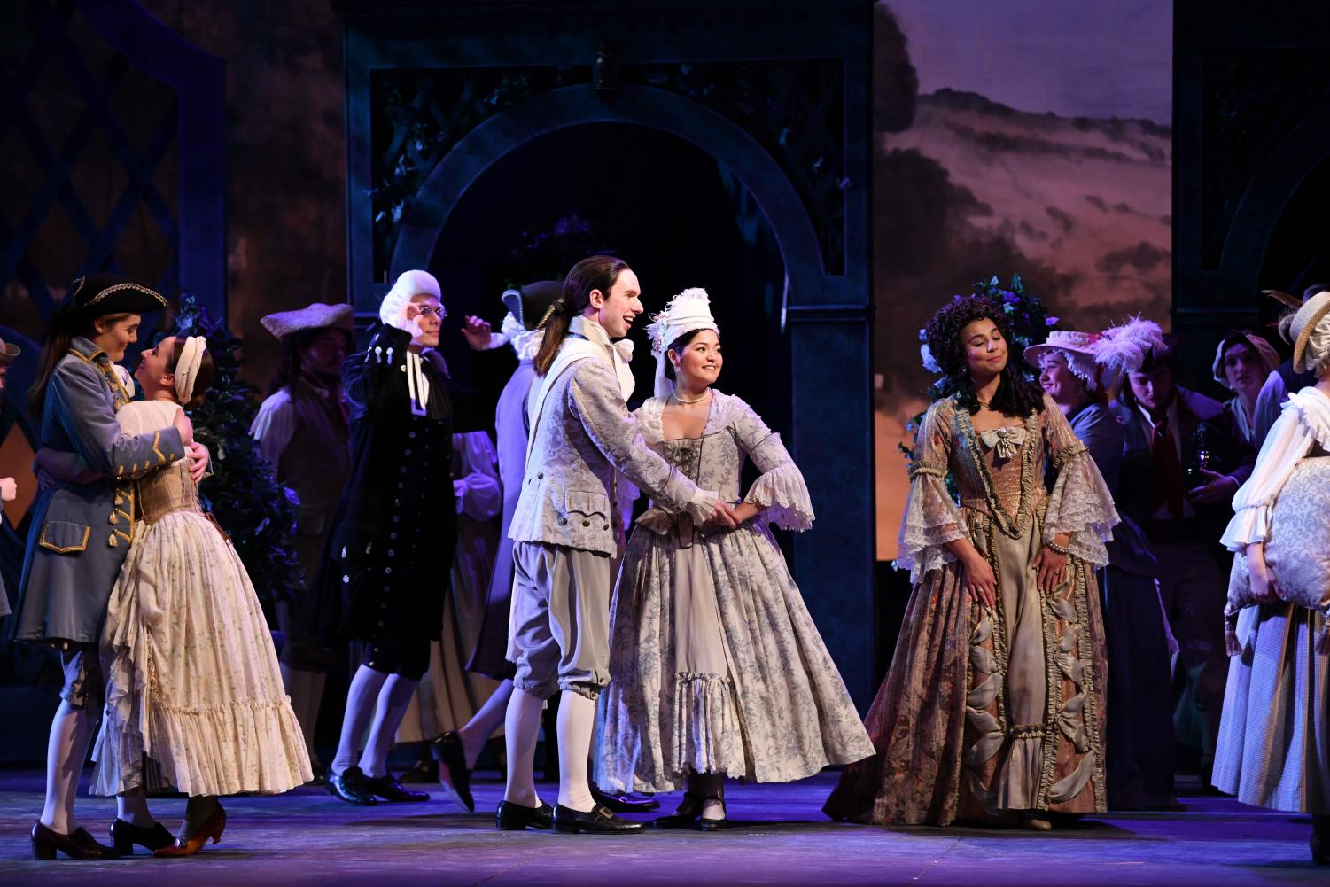 Students perform Mozart's opera Le nozze di Figaro, which opened Wednesday night in Hall Auditorium.