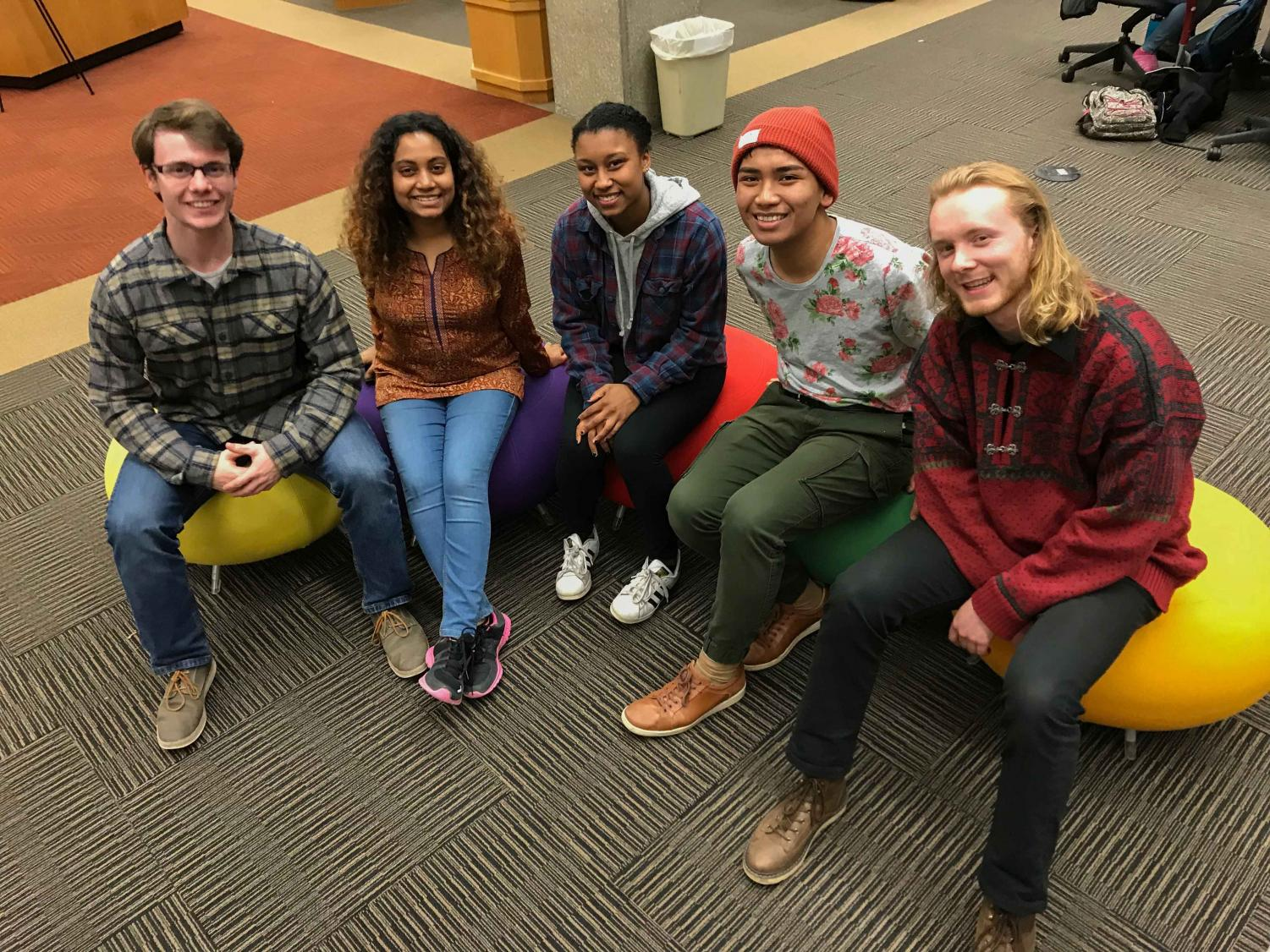 This semester's new Student Senators: College sophomore Johan Cavert, College junior Priyanka Sen, College first-year Brittany Mendez, double-degree first-year Patrick Powers, and College first-year Eddy Tumbokon.