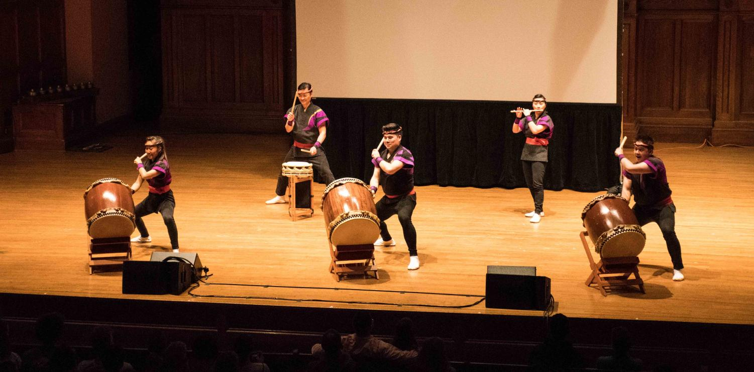"Members of San Jose Taiko give an energetic, awe-inspiring performance in Finney Chapel Saturday. Taiko is a Japanese art form featuring synchronized ensemble drumming. The performance took place in conjunction with a presentation on the history of taiko in the U.S. and the incarceration of Japanese Americans during World War II, as part of the series of events organized around the current exhibit ""Courage and Compassion: Our Shared Story of the Japanese American World War II Experience."""