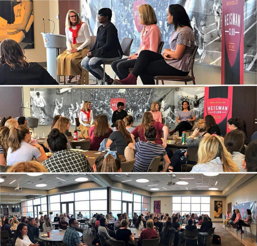 Women+athletes+gathered+together+Sunday+morning+to+listen+to+a+power-packed+panel+of+OC+women+alumnae+to+cap+off+of+Homecoming+Weekend.+After+a+brief+breakfast%2C+the+participants+engaged+in+an+intense+discussion+about+personal+impact+of+OC+athletics+in+Oberlin+and+beyond.