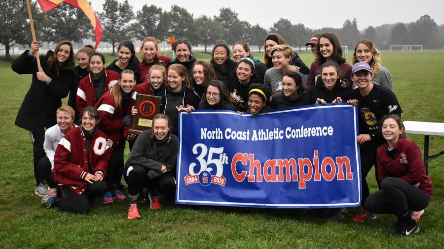 The+women%E2%80%99s+cross+country+team+beat+Allegheny+College+by+one+point+Saturday%2C+Oct.+27+at+the+North+Coast+Athletic+Conference+Championship%2C+and+took+home+the+trophy+for+the+first+time+in+three+years.+Numerous+members+of+the+team+credit+their+leadership+and+discipline+for+giving+them+the+slight+advantage+over+the+Gators.