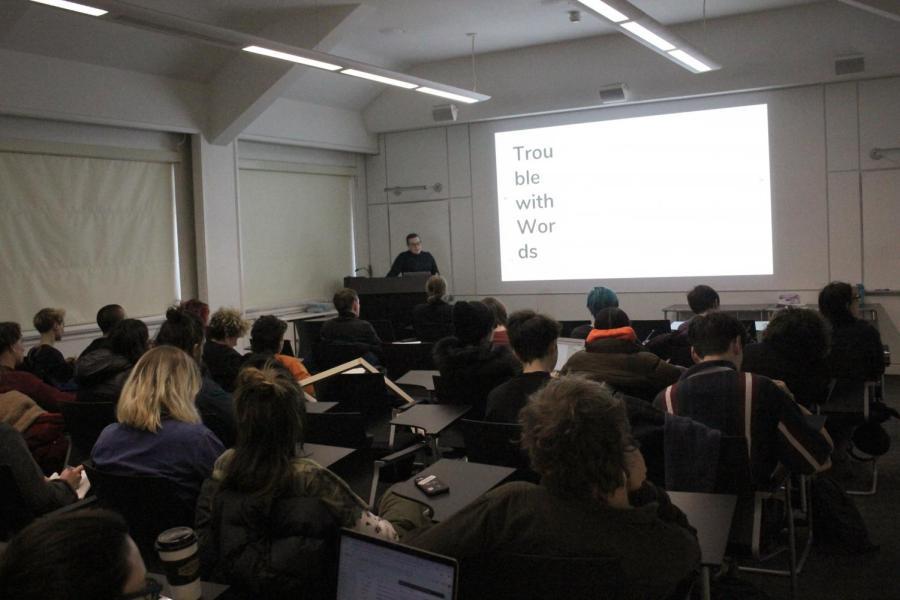 Kat+Burdine+speaking+to+Oberlin+students+last+Monday.