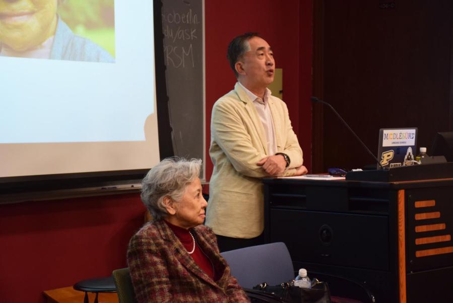 Shigeko+Sasamori+and+Professor+of+Japanese+at+Purdue+University+Kazumi+Hatasa+gave+a+lecture+last+week+about+Sasamori%E2%80%99s+experience+in+Hiroshima+in+1945.