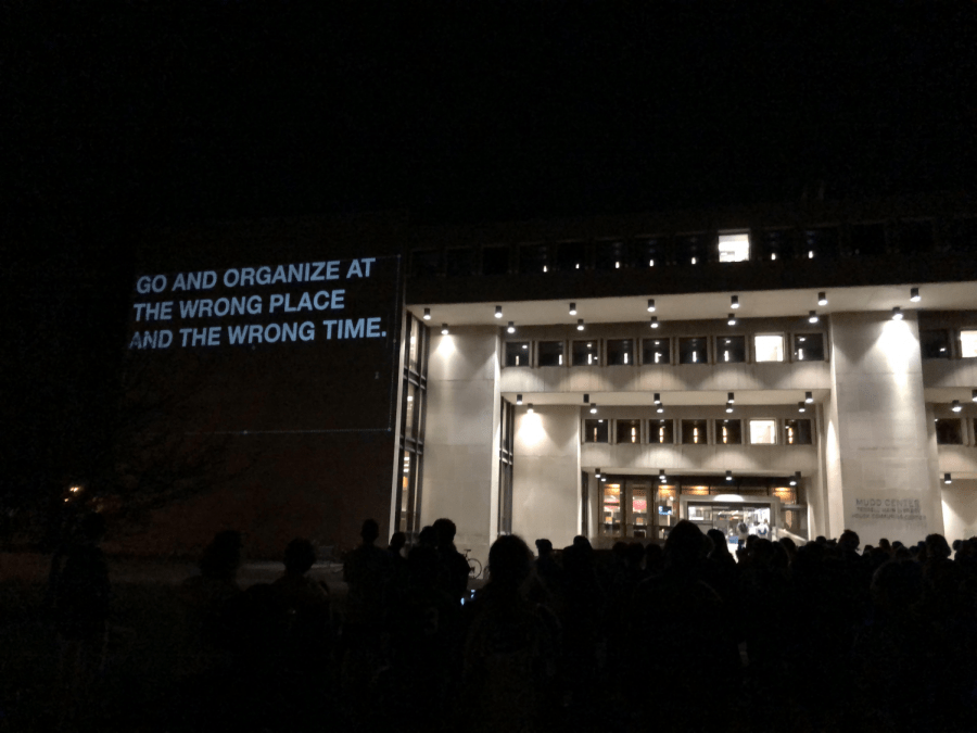 A+visual+history+of+Oberlin+activism+was+projected+onto+the+outside+of+Mudd+Center+last+Thursday.