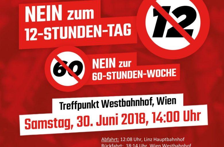 """Sei dabei! Demo """"Nein zum 12-Stunden-Tag"""""""