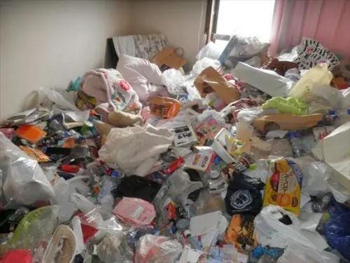 ゴミで完全に塞がれたリビング