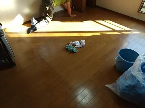 ウォーターベッド撤去完了後の簡易清掃