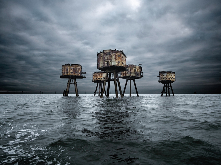 England, UK --- Maunsell Forts in the Thames Estuary --- Image by © Howard Kingsnorth/Corbis
