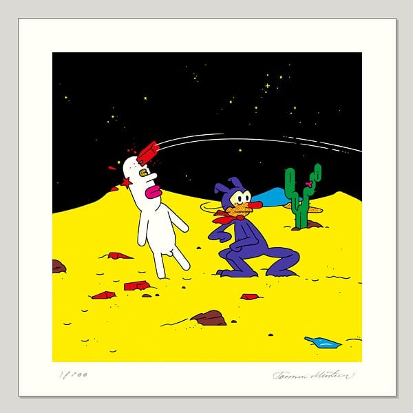 #samuel #krazykat #headache #friendship #thinkbrick The last of my six new small prints. Ode to Herriman. Taking the hit in behalf of your friend is sometimes necessary. http://www.obeysamuel.com/shop