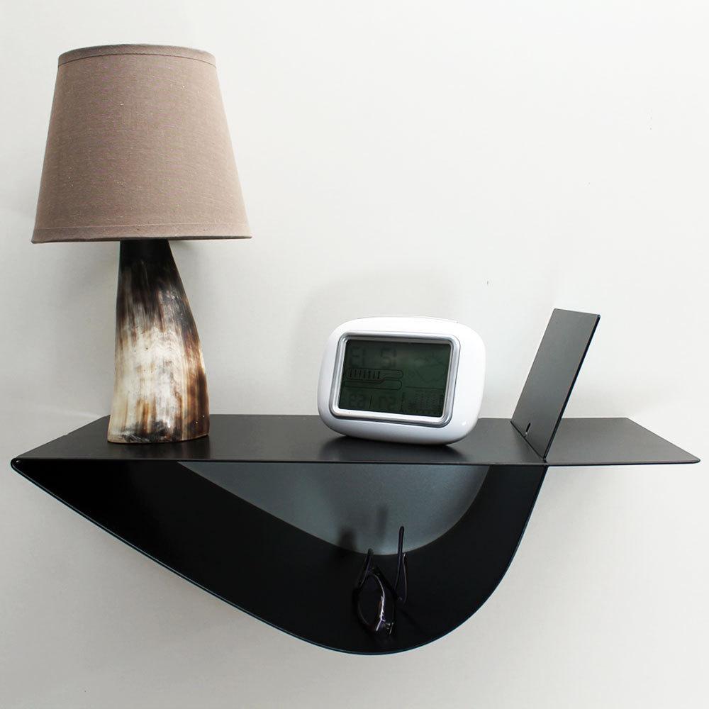 table de chevet suspendue zen noire chevet mural droit