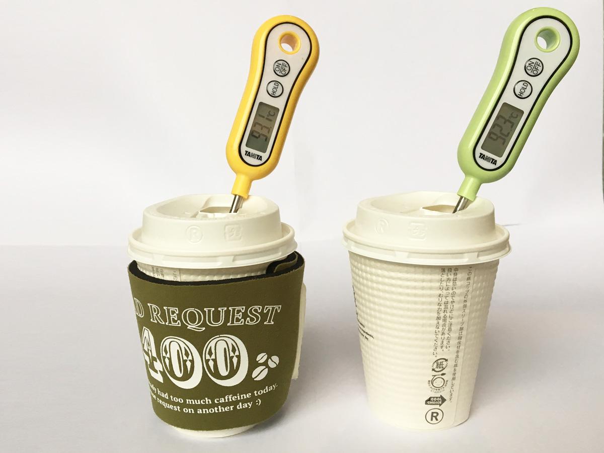 コンビニコーヒーカップの保温効果実験