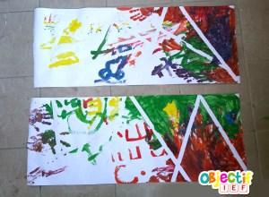 arc en ciel peinture empreinte main activité enfant L'art est un jeu d'enfant