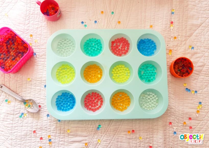 activité perles d'eau tri de couleur